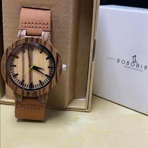 NWT Men's Crafted Zebra Wood Leather Watch NEW